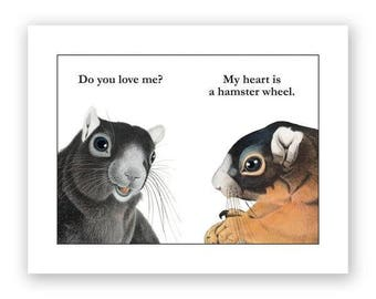 My Heart Is A Hamster Wheel Card - Humor - Hamsters - Funny