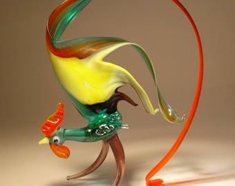 Handmade  Blown Glass Figurine Art Bird Black and Yellow ROOSTER Figurine