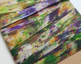 """Silk Ribbon, Hand Dyed Watercolour : Heart of the Iris (purple, green, gold, woven, 100% silk, 13 mm/ 0.5"""" wide, 4 yards OR custom length)"""