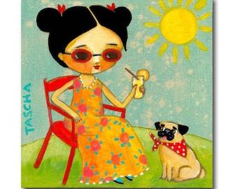 Pug Painting ORIGINAL pug summer fun cute pug in bandana sun outdoors pug folk art nursery painting by artist tascha