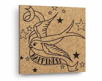 TATTOO HAPPINESS BIRD Mix & Match Cork Decor Art Tiles Or Kitchen Trivet - Wall DéCork