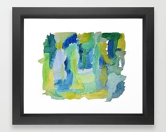 Abstract Watercolor, Blue Watercolor, Green Watercolor, Framed Print, Framed Art, Blue And Green, Watercolor Painting, Watercolor Art Print