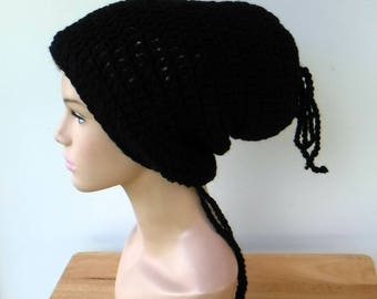 2 in 1 Dread tube or slouchy hat, dreadlocks beanie with open back/black rasta tam hat, man or woman tube hat for dreads/black slouchy hat