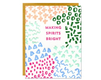Set of 6 - Making Spirits Bright Holiday Letterpress Cards
