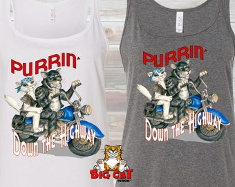 CAT TANK TOP. Purrin Down the Highway. Cats on a Motorcyle. Patriotic Cat, Motorcyle Girl