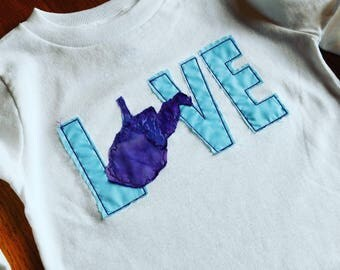 Embroidered LOVE WV children's long sleeve top - West Virginia - size 2T