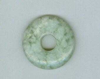 PI DAY SALE Green Jasper Pendant, 40mm Green Jasper Gemstone Pi Donut Focal Pendant 323B