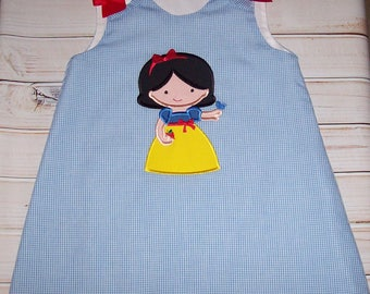 SAMPLE SALE Princess Snow White Cutie Applique Blue Gingham A-line Dress Size 4T--Vacation--Birthday Party--Princess--Ready to Ship