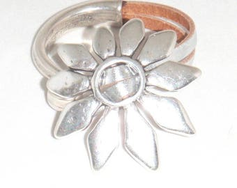 Silver Pewter Flower and Leather Cuff Bracelet