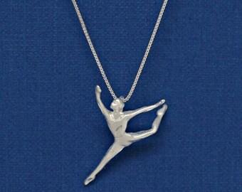SALE Sterling Silver Ballerina Ballet Modern Dance Dancer Diamond Cut Charm Pendant Customize no. 2210
