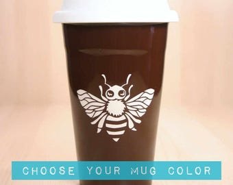 Honey Bee Travel Mug - insulated lidded coffee cup