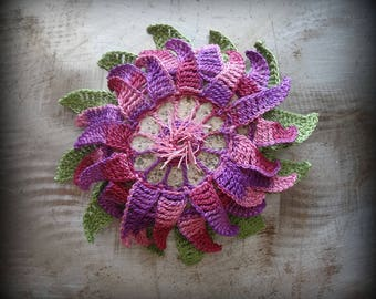 Flower Stone, Crocheted Lace, Original, Purple, Pink, Green, Table Decor, Handmade, Home Decor, Monicaj