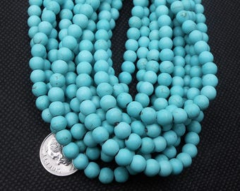 72 Turquoise Howlite Beads 6MM round (H7005)