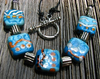 US Artisan Handmade Southwest Tribal Style Lampwork 5 Square Tumble Tile Glass Bead Necklace SRA