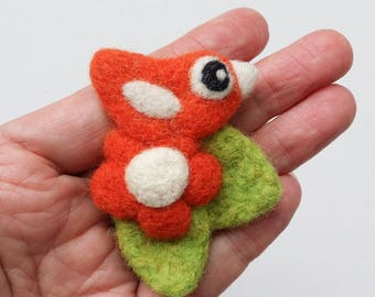 Brooch pin wool felt needle felted orange birdie bird flower