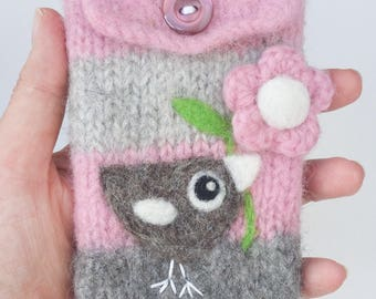 Pink gray wool pouch bag purse cellphone cozy needle felted gray birdie bird and flower