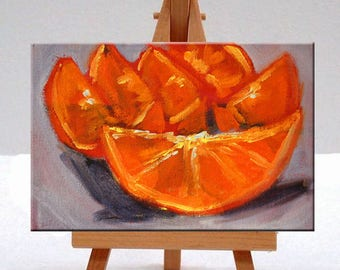 Citrus, Still Life, Painting, Original, Oil Painting, Orange, Kitchen Wall Decor, Small, 5x7 Canvas, Fruit Art, Tropical, Tangerine, Small