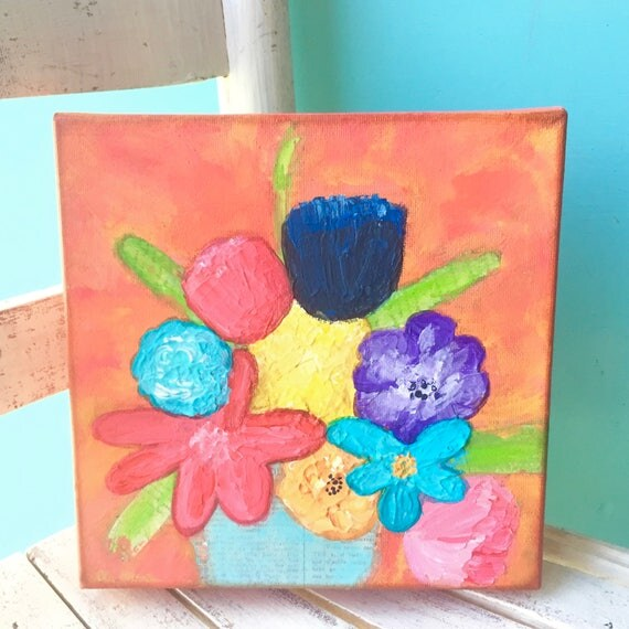 Original Abstract Flower Painting * Mixed Media Flower Art * Original painting * Impasto Painting * Bouquet of Flowers * Colorful Flowers