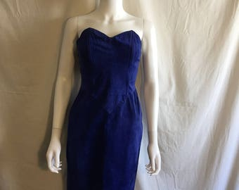 Blue suede leather strapless dress  xs small