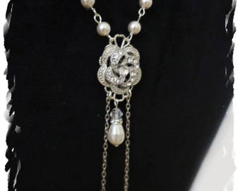 Vintage Art Deco Inspired Back Bridal Necklace Swarovski Pearl Downton Abbey Back Drop Wedding Necklace CZ Pave Rose Flower Long Back Chain