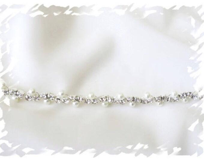 Thin Wedding Dress Belt Pearl Rhinestone Bridal Sash Vintage Deco