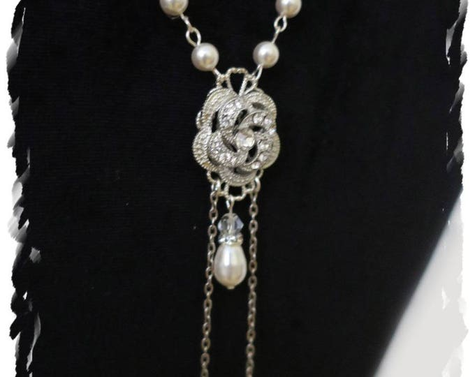 Vintage Art Deco Inspired Back Bridal Necklace Swarovski Pearl Downton Abbey Back Drop Wedding Necklace CZ Pave Rose Flower Long Back Chain