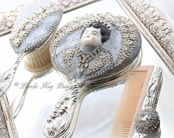 China Doll Rhinestone Mirror Vanity Set Lorelie Kay Designs Original Doll Face Mirror Mixed Media Rhinestones BLINGY Vanity Set