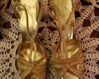 30% OFF Vintage 1950's Troylings Gold Strappy Heels Size 6 1/2 AA