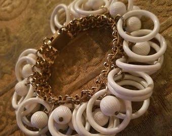30% OFF Vintage 1960's Napier Gold White Ringlets Bracelet, MOD Retro
