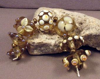 Handmade Lampwork Beads by Monaslampwork - Opals on Ivory - Lampwork Glass by Mona Sullivan Designs Opalescence Bubbles Organic Bohemian