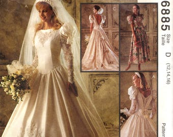 McCall's 6885 ALICYN EXCLUSIVES Bridal Gown Bridesmaid Dress Deep V Back Size 12 - 14 - 16  ©1994