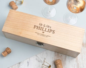 Wedding Date And Venue Wine Box Personalised Gift