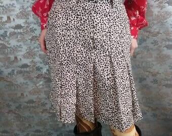 Vintage 80s J Tiktiner silk pleated animal print skirt - designer fashion