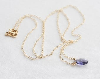Iolite necklace - tiny gemstone necklace, September birthstone necklace, water sapphire necklace, gold or silver, Mother's Day gift idea