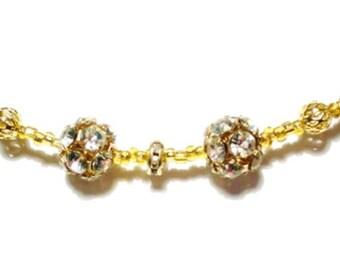 New Year's Gold Crystal Beaded Bracelet Gold Filigree Beads