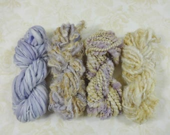 Handspun Art Yarn Mini Skein Collection Variety Pack 50 yards honey gold lavender purple