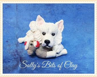 READY TO SHIP!  Samoyed dog with sock monkey Original sculpture by Sally's Bits of Clay