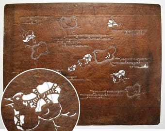 "Vintage Japanese Katagami Stencil Persimmon Paper ""Plovers"""