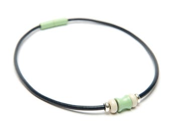 SALE: Mint Green & White Navy Leather Magnetic Landella Three Bead Choker Necklace