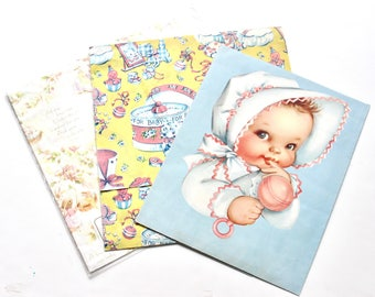 Vintage Baby Gift Wrapping Paper Collection