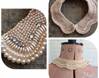 1950s Pearl Scalloped  Baar and Beards Collar