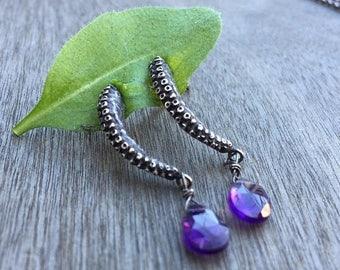 SALE Amethyst Tentacle Earrings, Octopus Jewelry, Tentacle Jewelry, Cthulhu, Boho Earrings, Nautical Jewelry, Valentine, Gifts for her, Octo