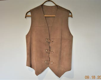 "Men's Suede Vest, 36"" -38"" chest ,Iconic 1970's  style,everyone felt it was their style,Hippies,Bikers,Rockers,Cowboys"