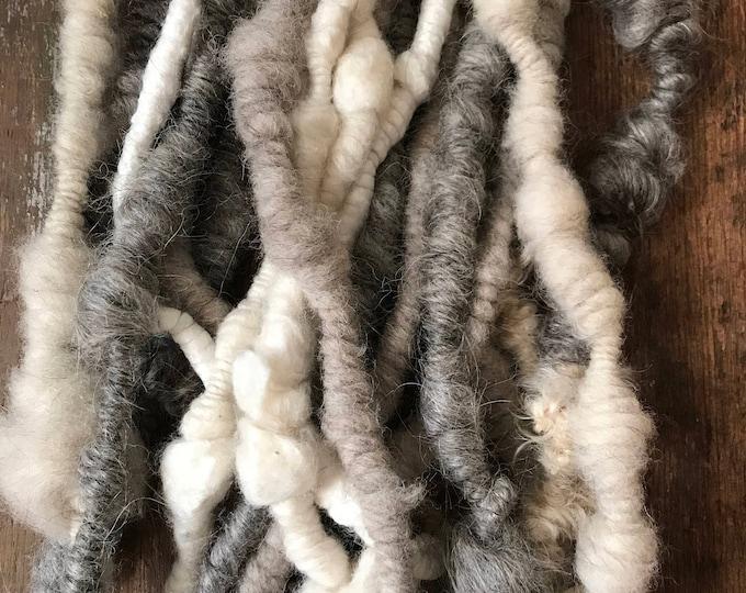 Natural coiled art yarn, 20 yards, extreme handspun yarn, art yarn, jumbo coiled yarn, lockspun yarn, textured handspun yarn, weaving yarn
