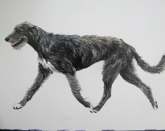 Pet Portraits Hand Painted on Aluminized Crescent Board Original Made to Order 5 x 7 inch Irish Wolfhounds by Shannon Ivins