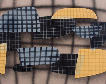 Mid Century Modern Geometric Abstraction Original Painting on Canvas