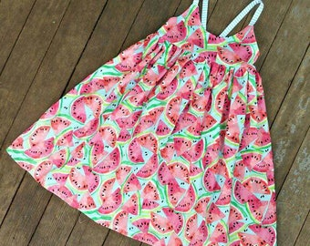 Watermelon Happy-go-lucky Summer dress sizes 12-18 months through Girls 12