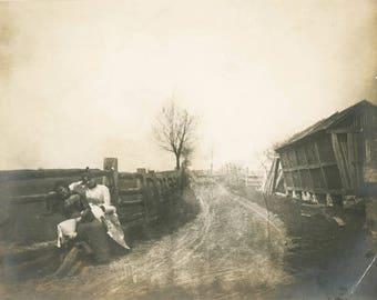 Vintage Photo 1910 Women Prairie Bonnet Lean Fence country Road Farm Like Painting