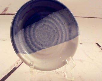 Stoneware Spoon Rest - Ceramic Kitchen Coaster - Trinket Dish - Wine Bottle Coaster - Utensil Plate - Royal Blue and White  h493