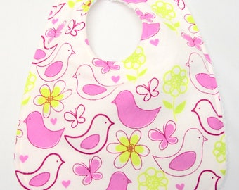 Baby Girl Bib, Baby Shower Gift, Welcome Baby Gift. New Mom Gift:  Fuchsia Birds and Yellow Flowers on White